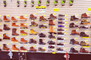 boots display inside barebones workwear store