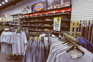 dickies merchandise inside barebones workwear store