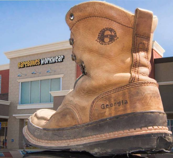 BareBones WorkWear® boot in front of store